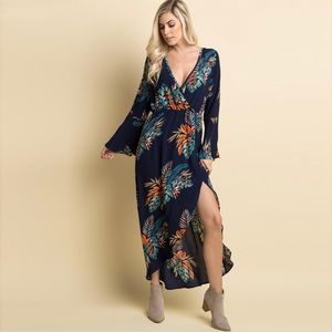 Pinkblush Palm Print Bell Sleeve Wrap Maxi Dress